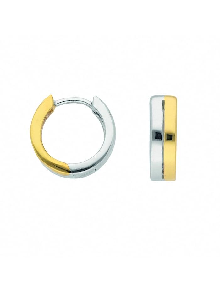 1001 Diamonds Damen Silberschmuck 925 Silber Ohrringe / Creolen Ø 13,3 mm, silber