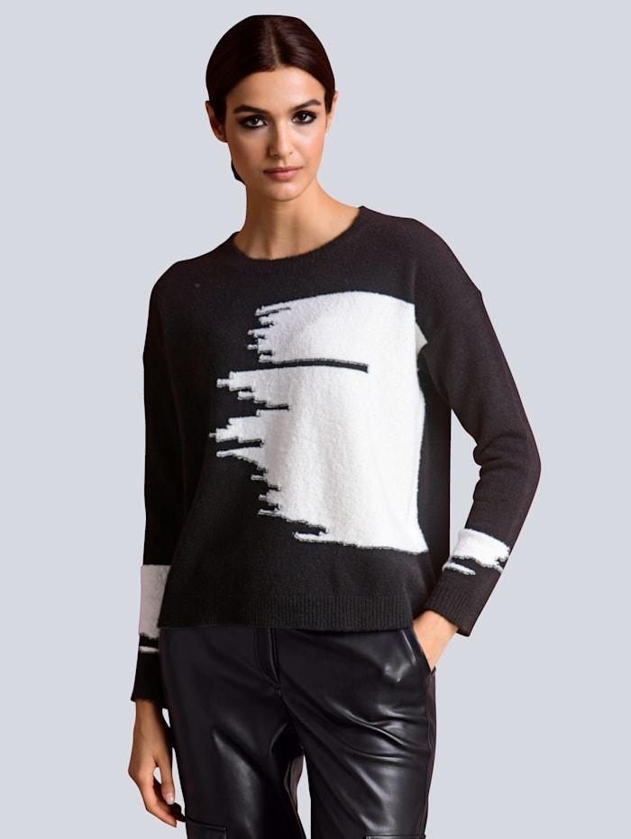 Alba Moda Pullover in effektvoller Zweifarbigkeit, Schwarz/Off-white