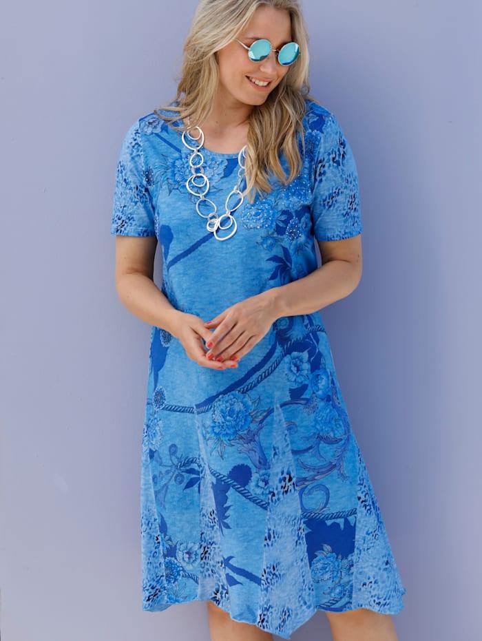 MIAMODA Kleid vorne mit Dekosteinen besetzt, Blau