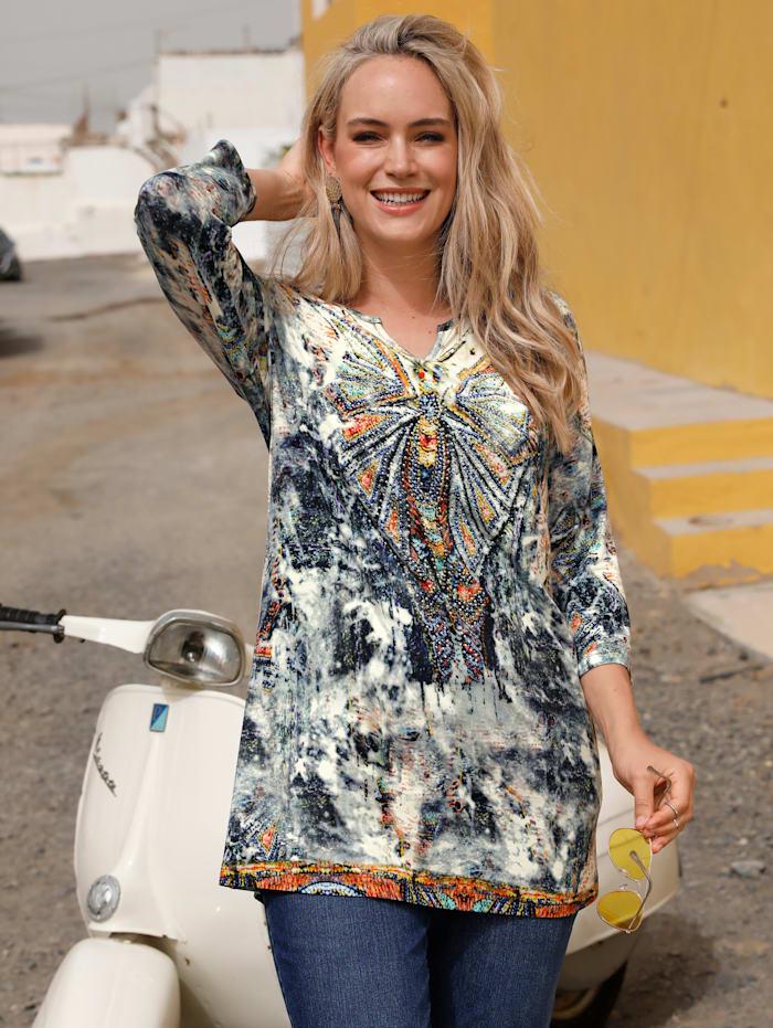 MIAMODA Longshirt mit Dekosteinen, Multicolor