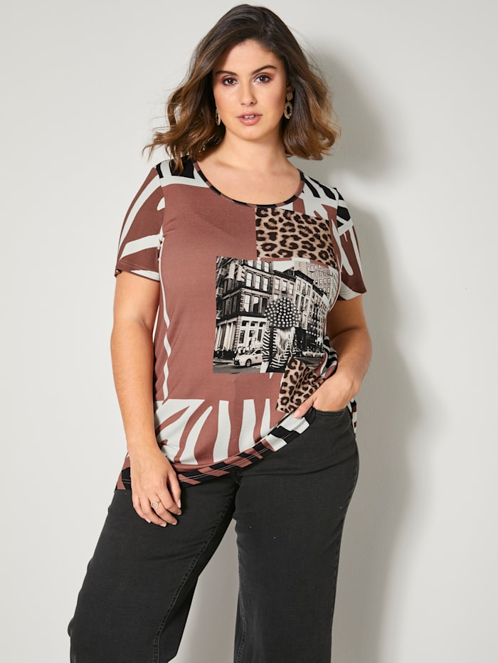 Sara Lindholm Shirt mit Dekosteinchen, Off-white/Haselnuss