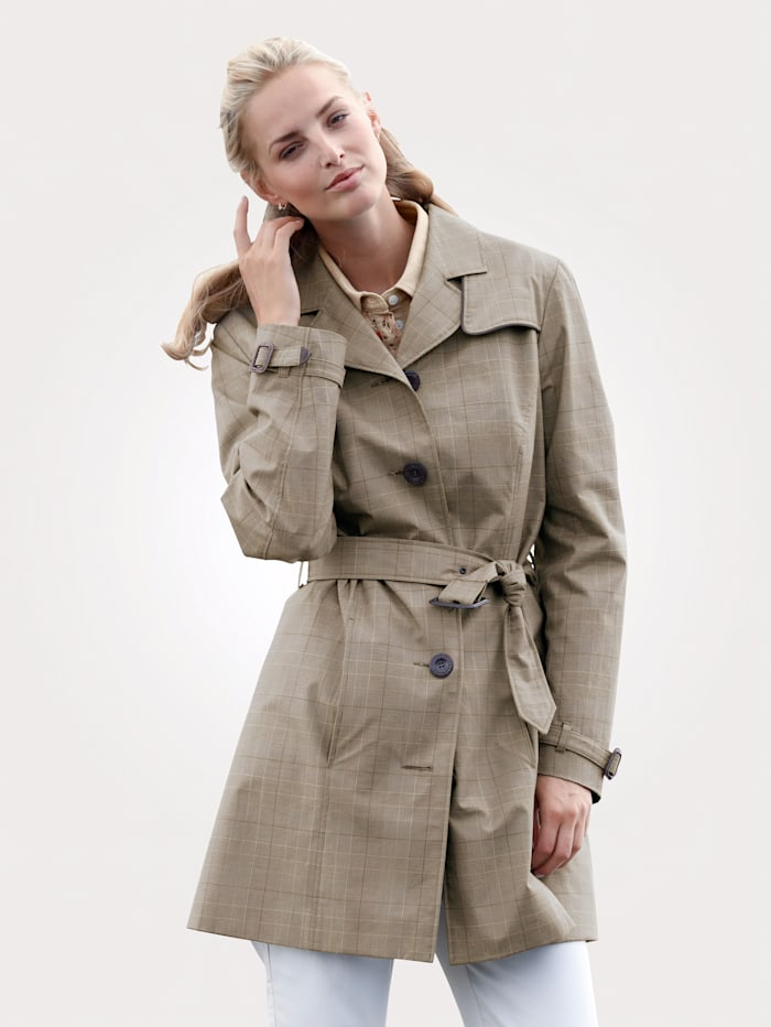 MONA Trench coat in pure cotton, Brown/Beige