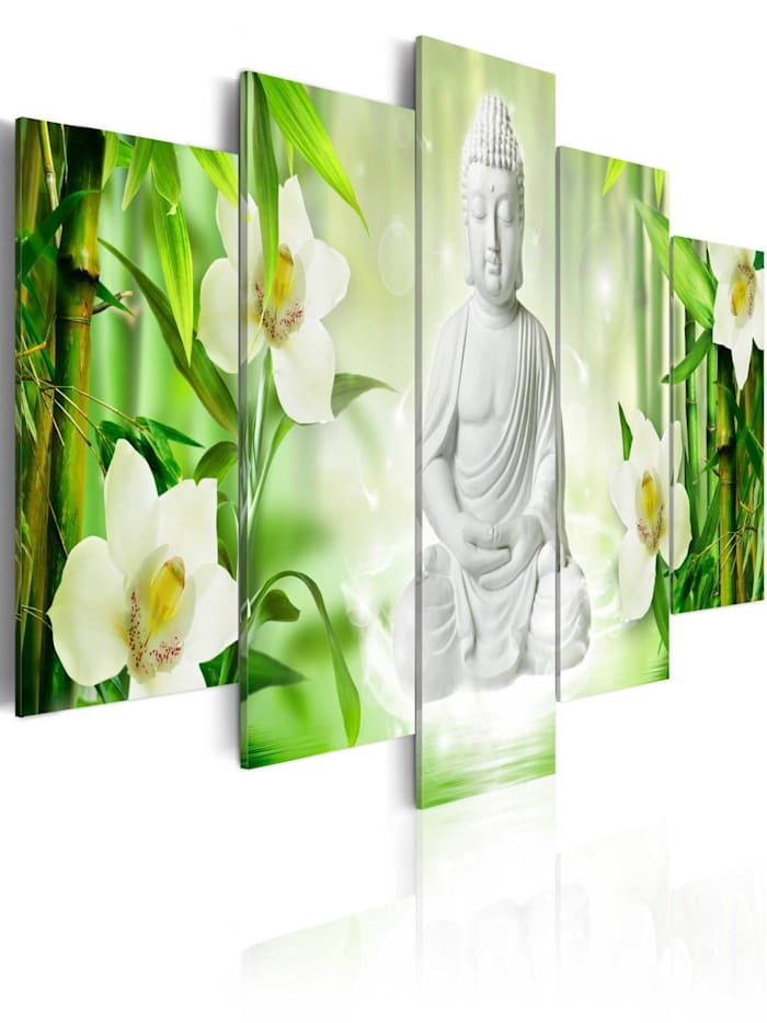 artgeist Wandbild Buddha and jasmine, Grün,Weiß,Gelb