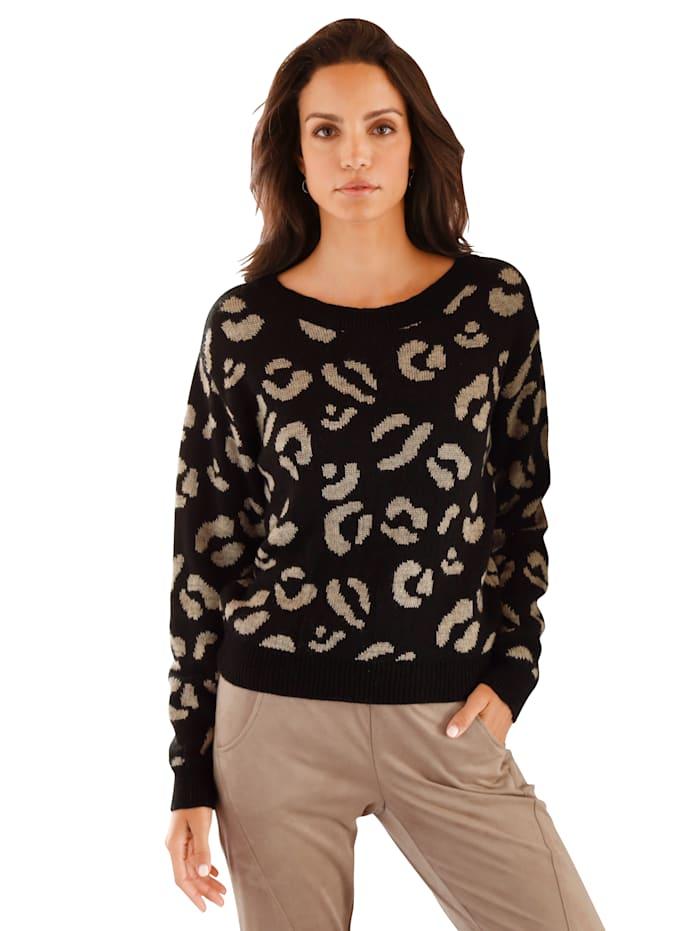 AMY VERMONT Pullover mit grafischem Muster, Schwarz/Taupe