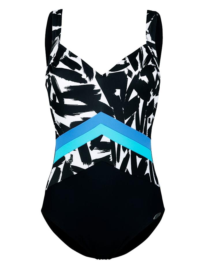 Sunflair Badeanzug mit farbigen Akzenten, Schwarz