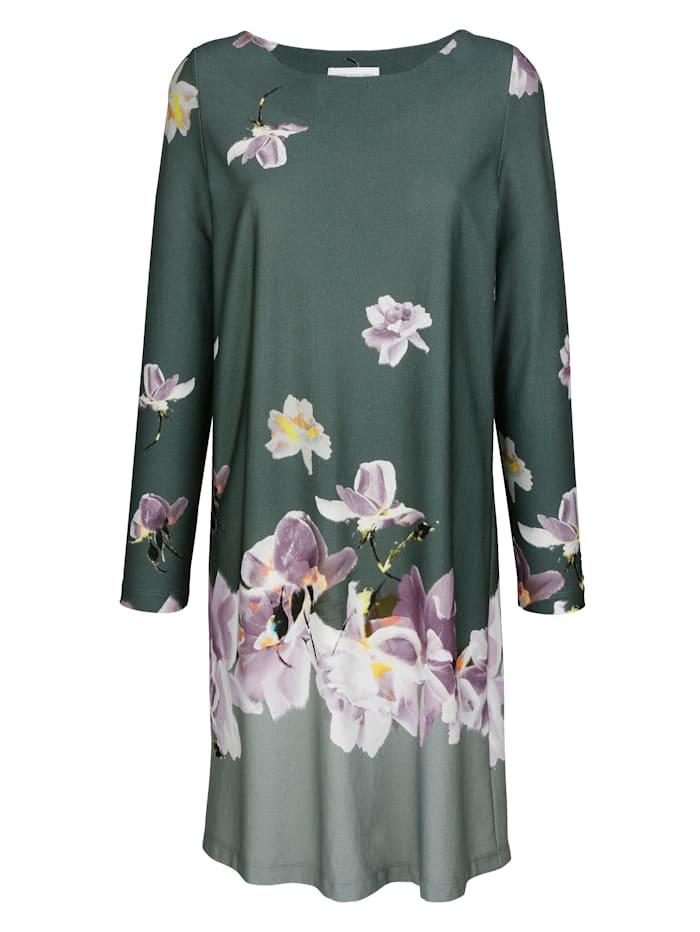 MONA Nachthemd mit floralem Bordürendruck, Salbeigrün/Flieder/Ecru