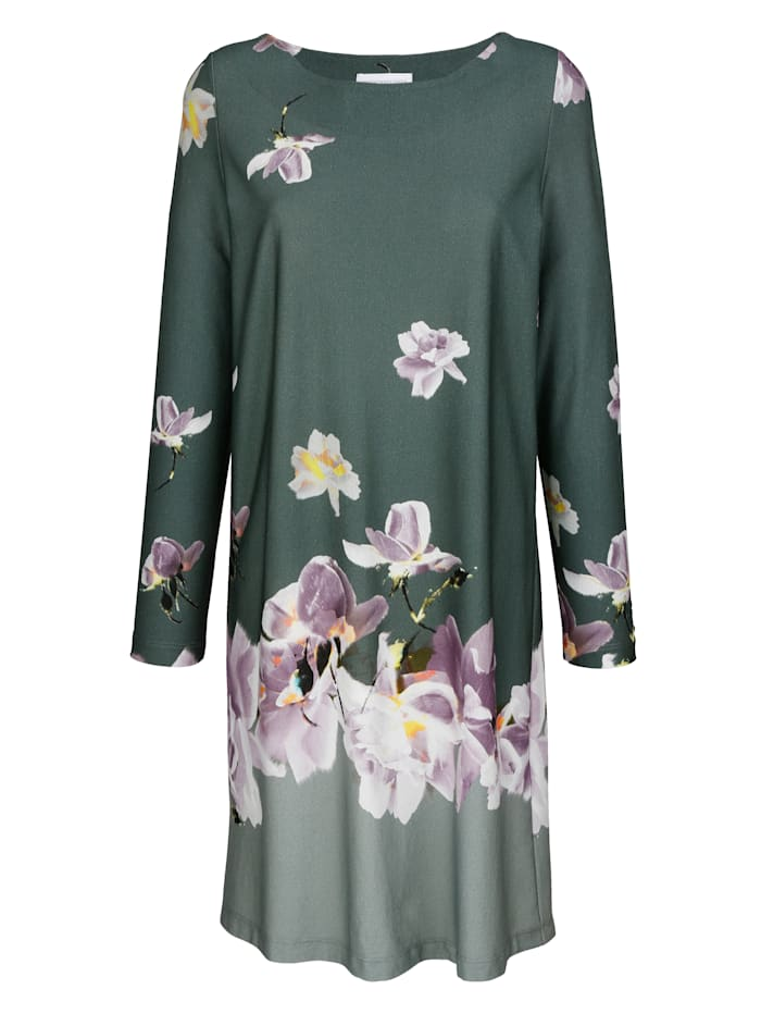 MONA Nightdress with a mixed scale floral print, Sage Green/Lilac/Ecru