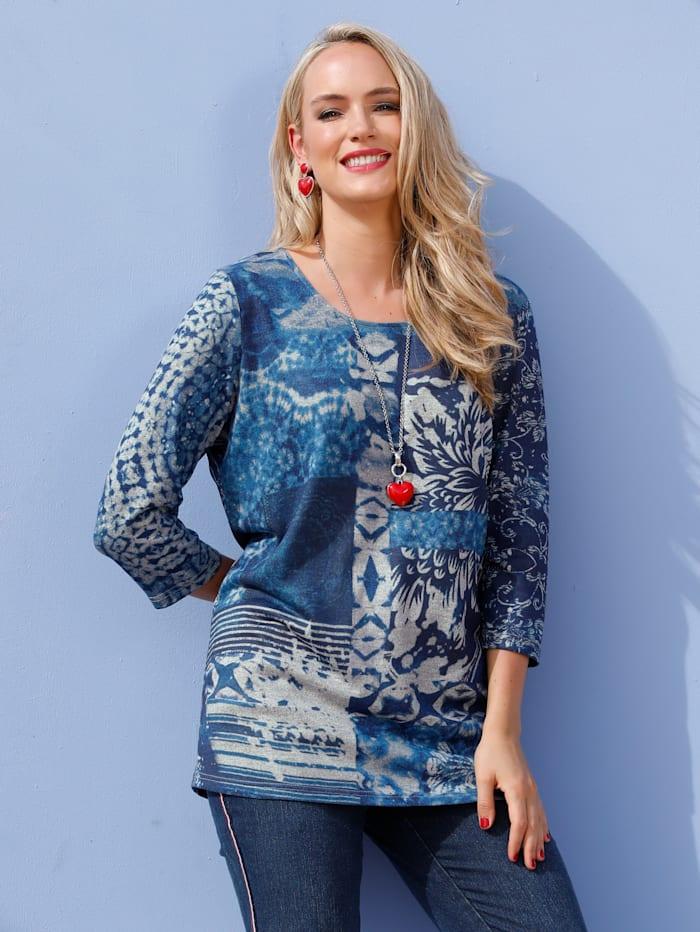 MIAMODA Feinstrickshirt mit dekorativem Patchdruck, Blau/Grau