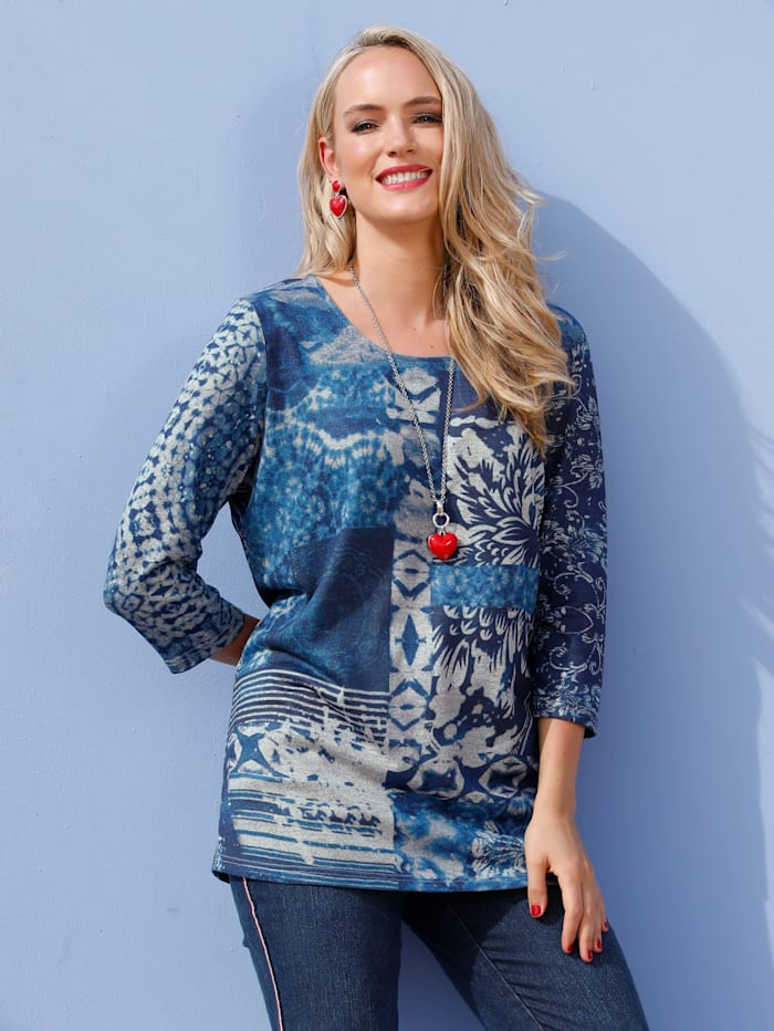 MIAMODA Shirt met decoratieve patchworkprint, Blauw/Grijs