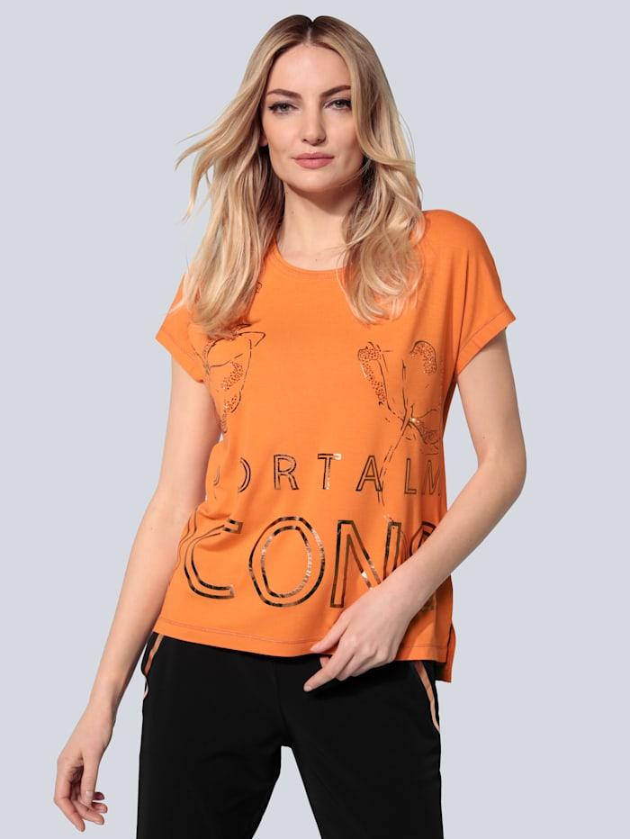 SPORTALM T-Shirt mit Foliendruck in Metallic-Optik, Orange