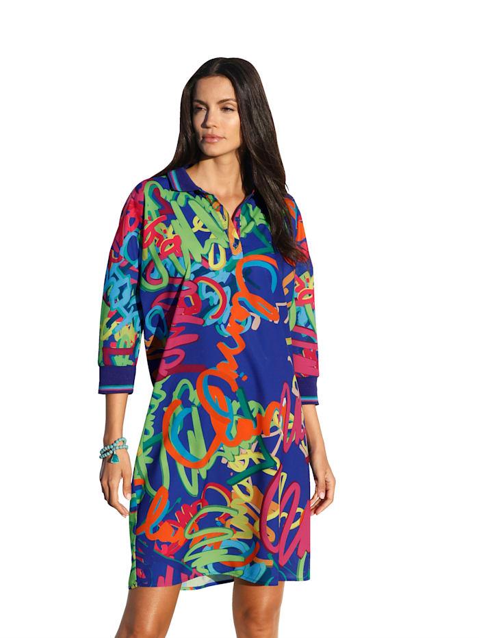 AMY VERMONT Kleid mit grafischem Muster, Royalblau/Orange/Pink
