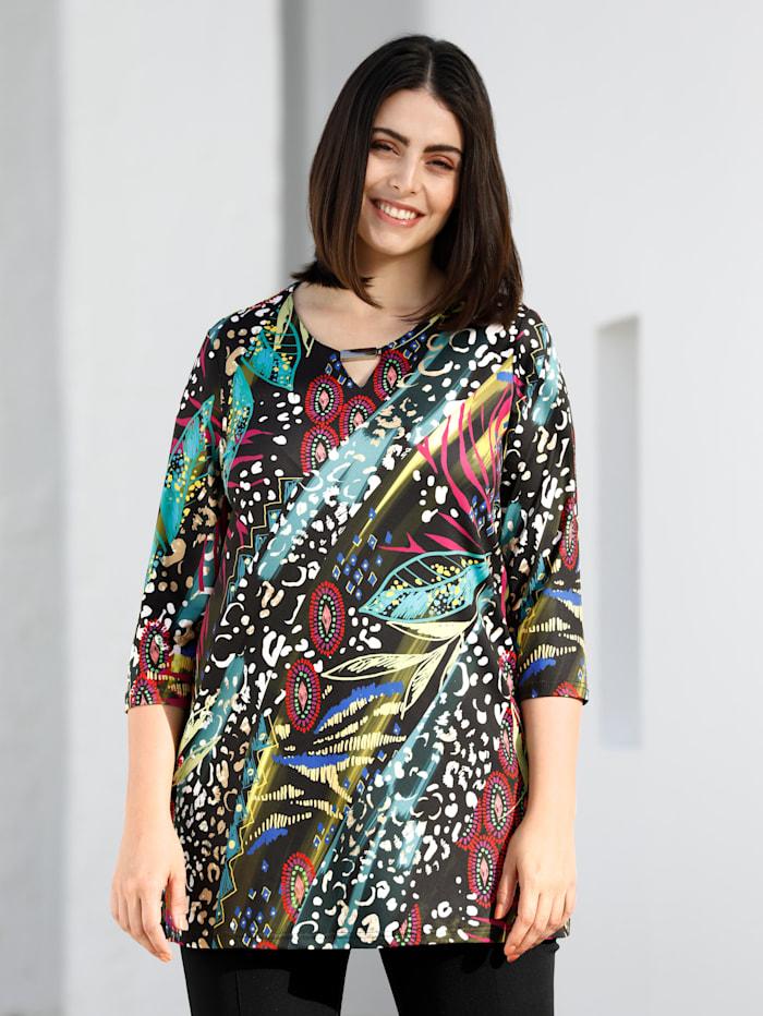 m. collection Shirt met kleurrijke print, Zwart