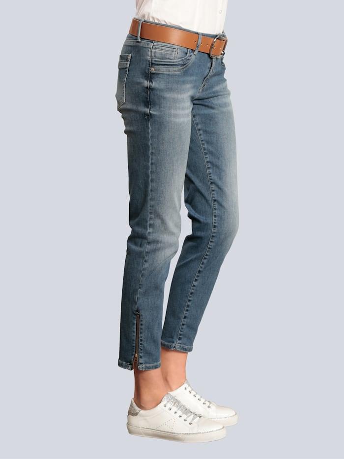 Raffaello Rossi Jeans mit Reißverschluß am Saum, Blue stone