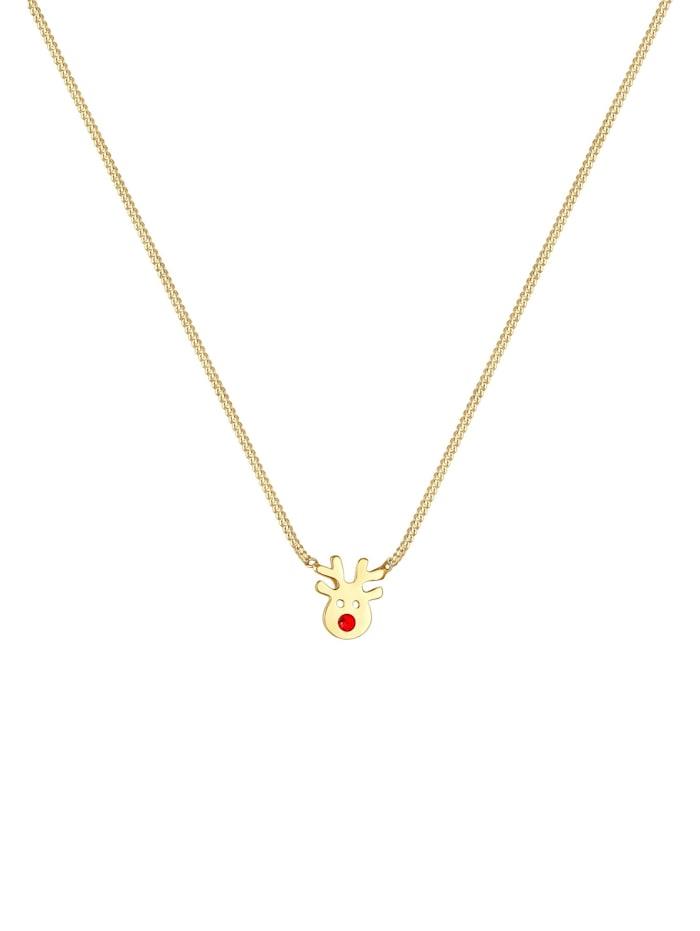Halskette Kinder Rentier Kristalle 925Er Silber