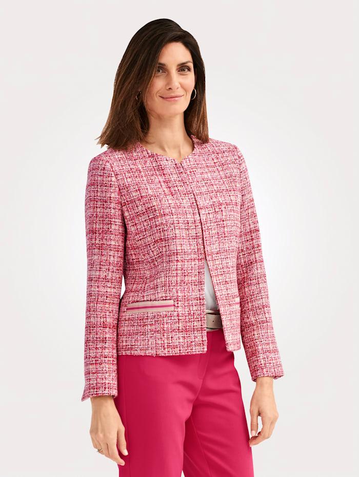 MONA Blazer van structuurgaren, Pink/Rood