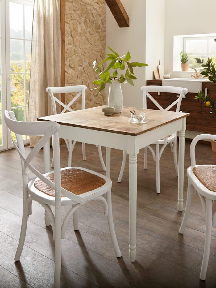 My Flair 2er Set Holzstühle mit Armlehnen, Weiß
