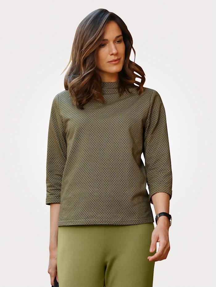 MONA Shirt met minimaldessin, Pistache/Zwart