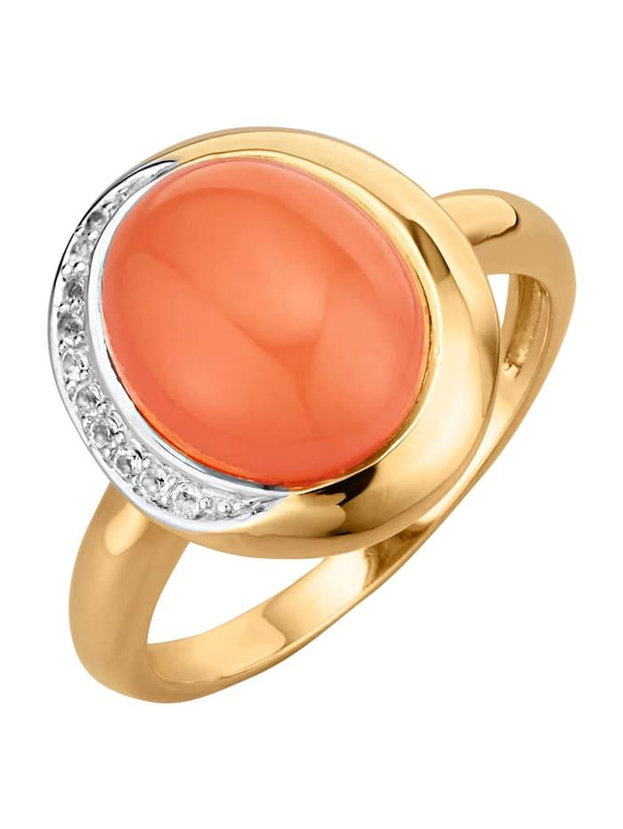 Damesring met maansteen en witte topaas, Oranje