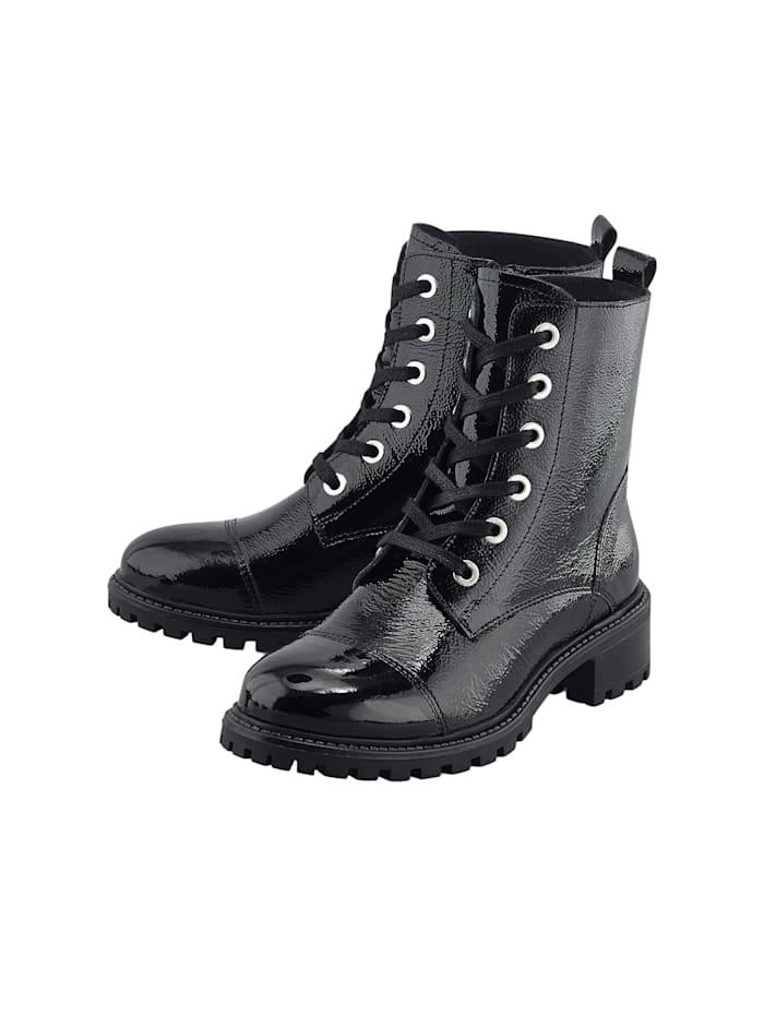 COX Schnür-Boots Lack-Boots, schwarz