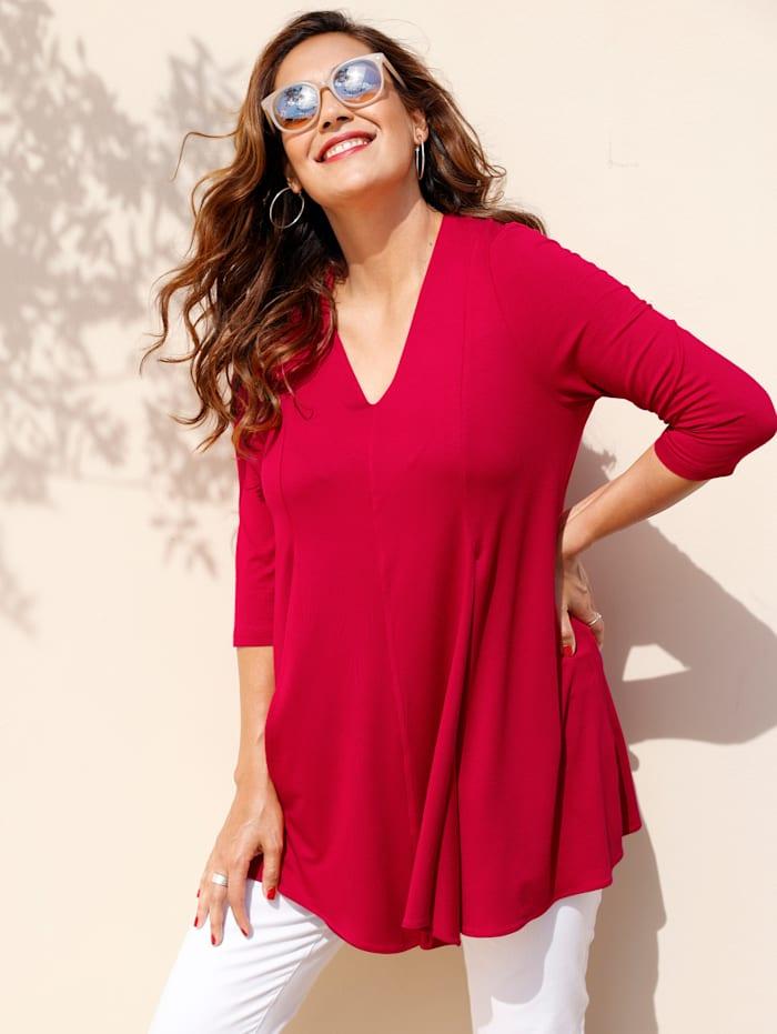MIAMODA Longshirt aus weich fließender Viskose mit Stretch, Rot