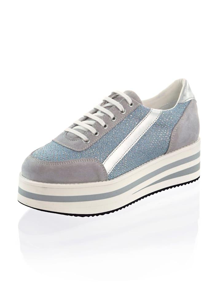Alba Moda Sneaker mit Strasssteinen besetzt, Blau