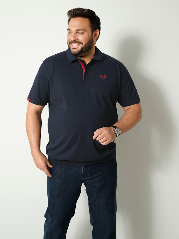 Men Plus Poloshirt met speciale pasvorm, Marine/Rood