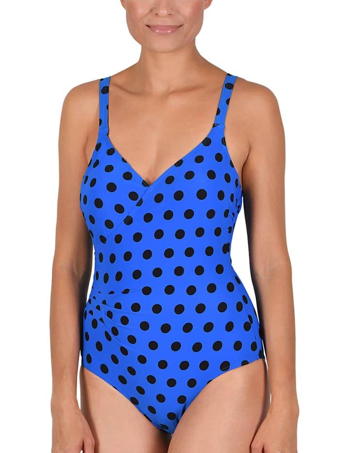 Naturana Badeanzug mit Corsage, blau-schwarz