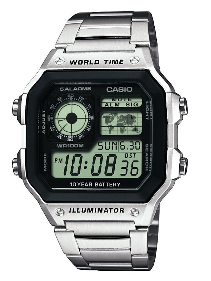 Casio Digital-Uhr Chronograph AE-1200WHD-1AVEF, Silberfarben