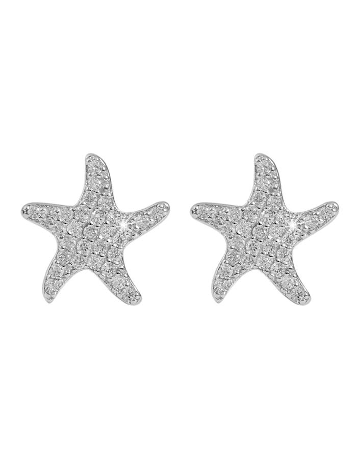 Damen Ohrstecker Seestern aus 925 Silber mit Zirkonia