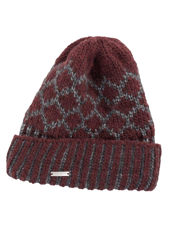 Seeberger Mütze, bordeaux-silberfarben