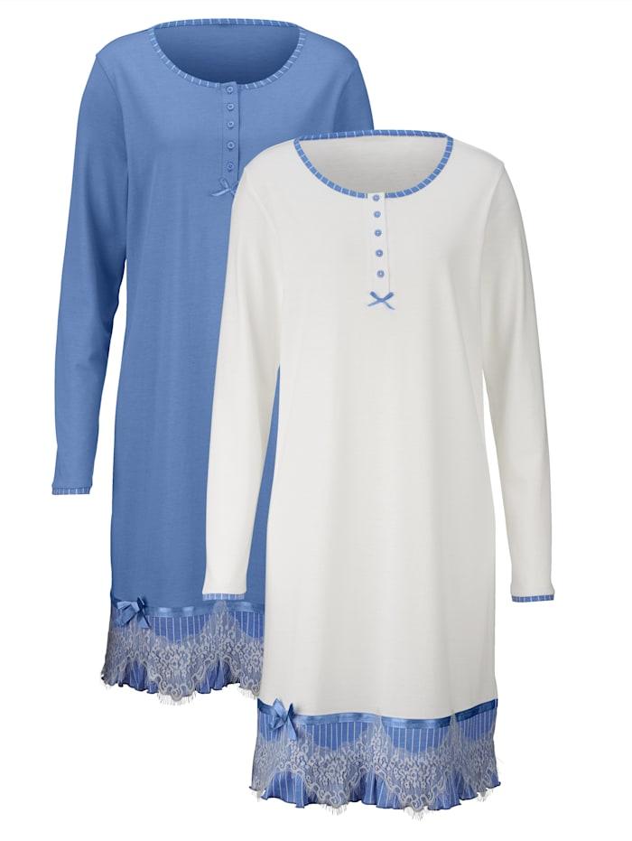Nachthemd mit romantischen Spitzendetails 2er Pack