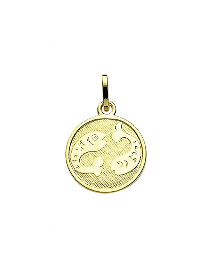 1001 Diamonds Damen & Herren Goldschmuck 333 Gold Sternzeichen Anhänger Fisch Ø 11,8 mm, gold