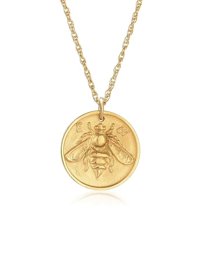 Elli Halskette Münze Antik Coin Biene 925 Silber Vergoldet, Gold