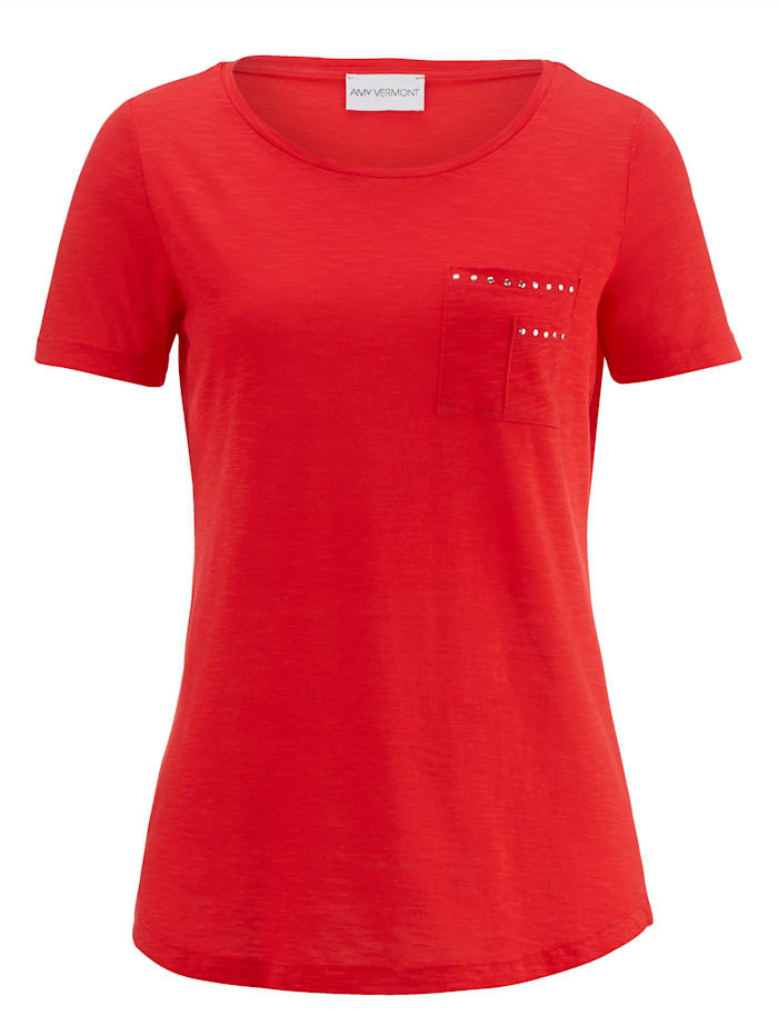 Shirt mit nietenbesetzter Brusttasche