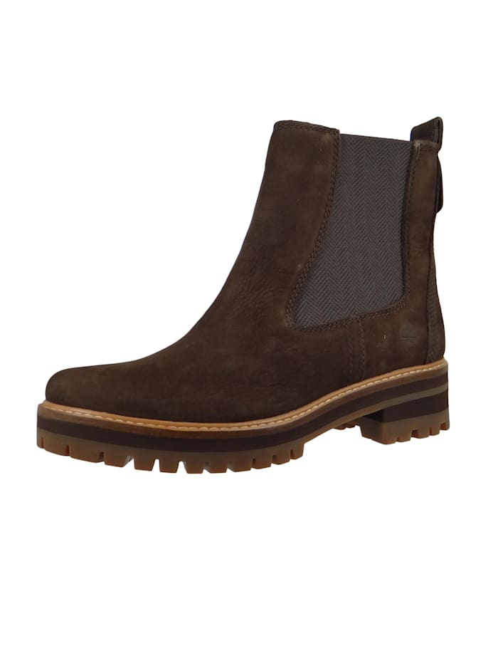 Timberland A23WU Courmayeur Valley Chelsea Boot Damen Leder Stiefelette Dark Brown Nubuck Braun, Dark Brown Nubuck