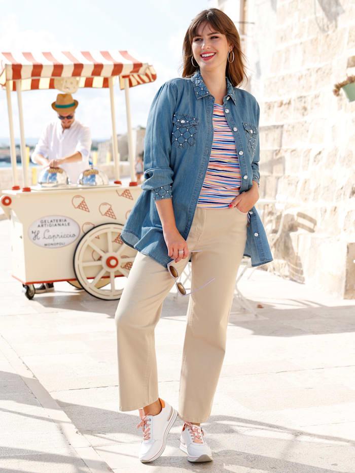MIAMODA Jeansbluse mit Dekosteinchen, Blue bleached