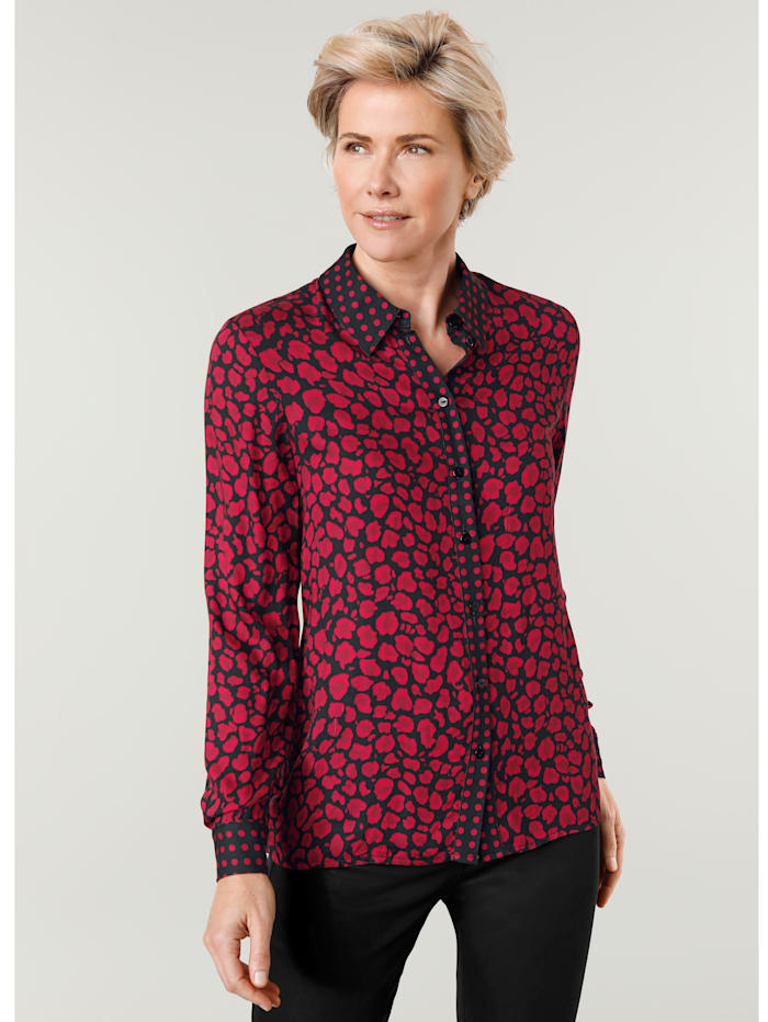 MONA Chemisier à ravissant motif léopard, Noir/Rouge