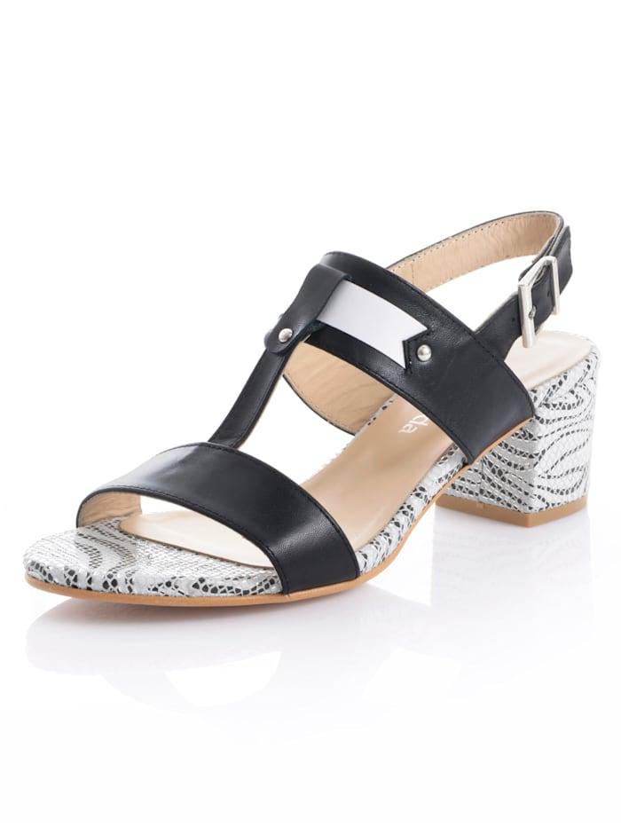 Alba Moda Sandales avec semelle à motif, Noir/Blanc