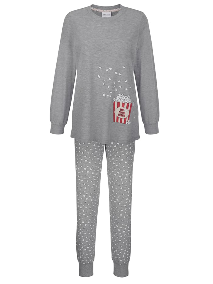 Ringella Schlafanzug mit süßem Druckmotiv, grau meliert/ecru/rot