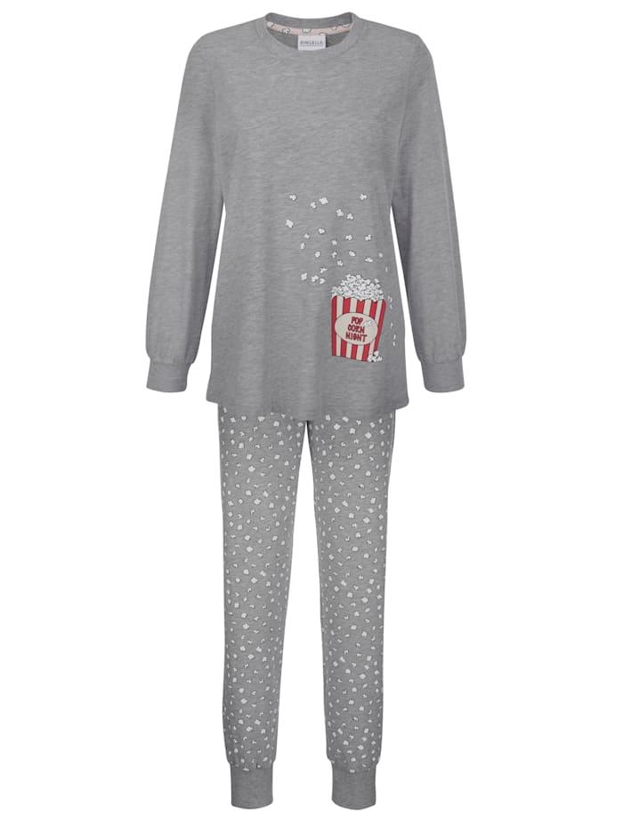 Ringella Schlafanzug mit süßem Popcorn Print, Grau/Ecru