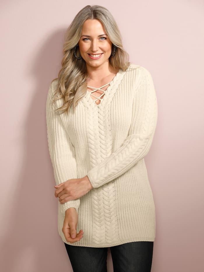MIAMODA Pullover mit Bändern am V-Ausschnitt, Off-white