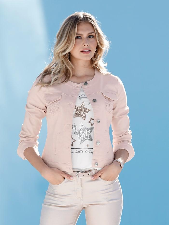 Jeansjacke mit Strasssteindekoration