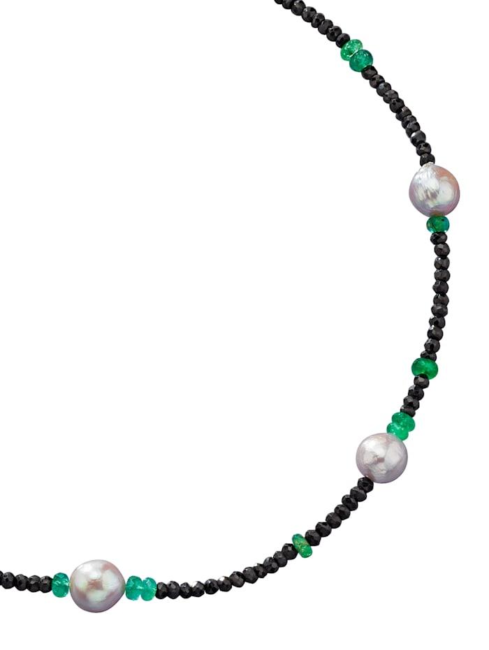 Diemer Farbstein Spinellkette mit Smaragden, Multicolor