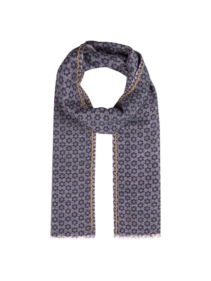 Codello Premium Schal mit exklusivem Flower-Print – Made in Italy, jeans blue