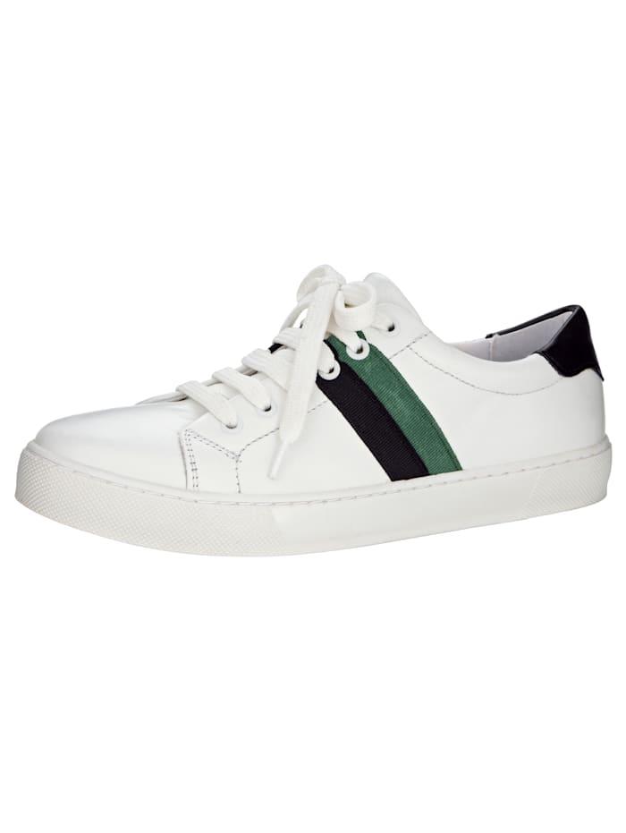 Sneaker met trendy strepen, Wit/Zwart/Groen
