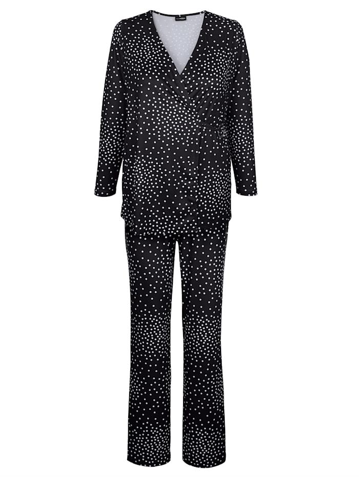 MIAMODA Shirt en broek met stippenprint rondom, Zwart/Wit