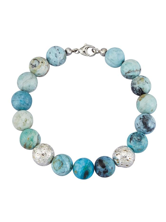 Armband met mix van gekleurde stenen, Blauw