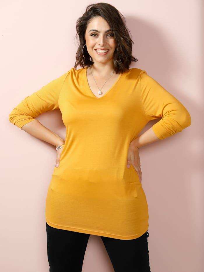 MIAMODA Shirt met flatterende V-hals, Geel
