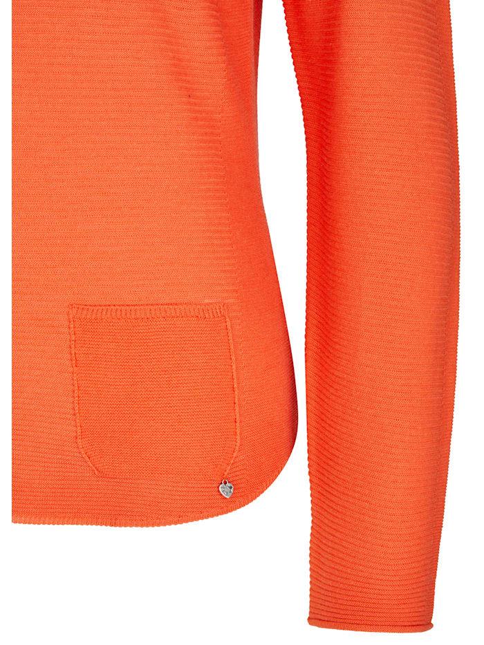 Pullover mit unifarbenem Stoff und Ziertasche
