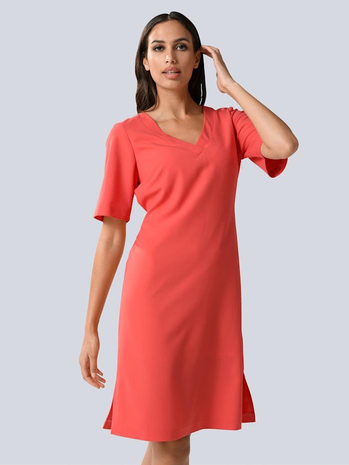Alba Moda Kleid mit breiter Blende und Bindeband in der Taille, Koralle